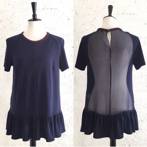 Opening Ceremony Sheet Navy Collared Blouse